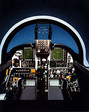 Airplane picture - A mock-up of the prototype cockpit, showing the two multi-function displays and HUD.