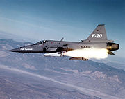 Airplane picture - The F-20 launching an AGM-65 Maverick missile.
