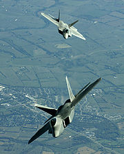 Airplane Pictures - F-22 Raptors over Utah in their first official deployment, October 2005.