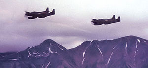 Airplane Pictures - F-82s over the Alaska Range, c.1950