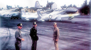 Airplane Pictures - 27th FW North American F-82E Twin Mustangs, (Serial 46-354 identifiable) along with a Boeing B-29 Superfortress at Kearney AFB Nebraska