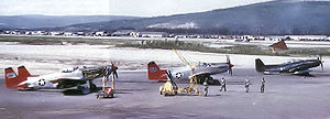 Airplane Pictures - Two F-82H's and one F-82G on the ramp at Ladd AFB, late summer 1952