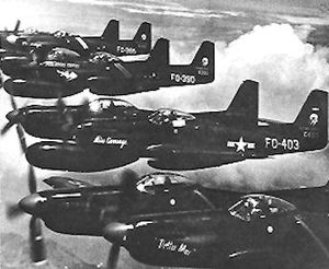 Airplane Pictures - Flight of 339th FS F-82Gs (46-403, 46-390, 46-366, 46-394) heading to Korea in June 1950