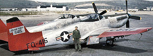 Airplane Pictures - USAF operational F-82 Twin Mustang, F-82F 46-415, on the ramp at Ladd AFB, just before going to salvage at Elmendorf, May 1953