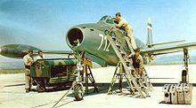 Airplane picture - Yugoslav F-84 Thunderjet undergoing pre-flight check-up