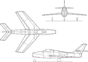 Airplane diagram - Orthographically projected diagram of the Republic F-84F Thunderstreak