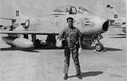Airplane Pictures - Waleed Ehsanul Karim with his ill fated F-86 Sabre Jet in April 1965