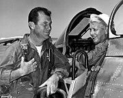 Airplane Pictures - Jackie Cochran in the cockpit of the Canadair Sabre with Chuck Yeager