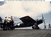 Airplane Pictures - Grumman F4F-4 Wildcat on board of escort carrier USS Suwannee (CVE-27) in late 1942