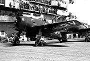 Airplane Pictures - An F8F Bearcat aboard the USS Valley Forge