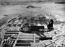 Airplane picture - A U.S. Navy FJ-1 Fury of the Oakland Naval Air Reserve flies over Oakland, California in 1950