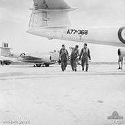 Warbird picture - No. 77 Squadron RAAF pilots and Meteor aircraft in Korea