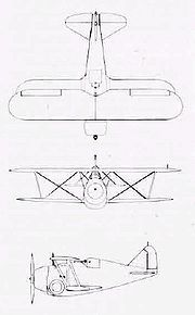 Warbird picture - Three-side drawing of a Grumman F2F-1