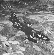 Warbird picture - Airplane picture - A VF-111 F9F-2 dropping bombs in Korea, 1951/52