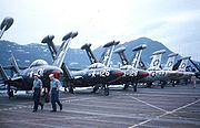 Warbird picture - Airplane picture - F9F-5s of VF-111 on the USS Lake Champlain in 1953.