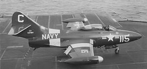 Warbird picture - Airplane picture - An F9F-2 of VF-21 on the USS Midway in 1952