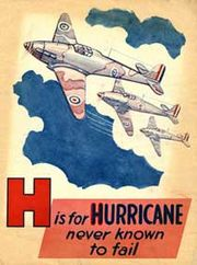 Warbird picture - H is for Hurricane, British children's alphabet book from the Second World War