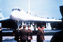Airplane Picture - Soviet officers in front of a Tu-160 bomber aircraft in September 1989.
