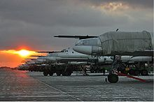 Airplane Picture - A lineup at sunset of Tu-95MS at Engels Air Force Base in December 2005.