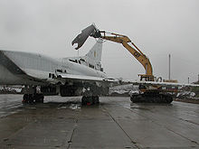 Airplane Picture - A Ukrainian Tu-22M is dismantled through assistance provided by the Cooperative Threat Reduction Program implemented by the Defense Threat Reduction Agency.