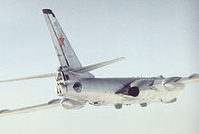 Airplane Picture - Rearside view of a Tu-16 Badger reconnaissance variant (most likely Tu-16R).