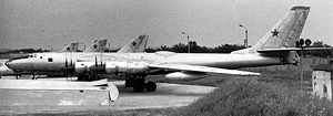 Warbird Picture - The Tu-95LAL test aircraft. The bulge in the middle covers the reactor.