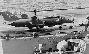Warbird Picture - A Yak-38 on the deck of a Soviet aircraft carrier