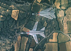 Warbird Picture - The Dassault Mirage G8-01 and G-8-02 prototypes in flight. The G8-01's wings are swept.