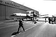 Lockheed debuts AWACS plane, a converted P-3 Orion, Los Angeles, 1984; later used by U.S. Department of Homeland Security