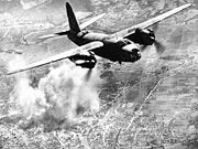 B-26 flying over its target during World War II.