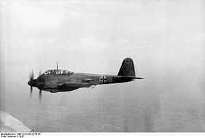 Airplane Picture - A Luftwaffe Me 210 A-1 of the Versuchsstaffel 210 test squadron, over France in 1942