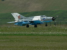 Airplane Picture - MiG-21 LanceR 'C' taking off from the RoAF 71st Air Base