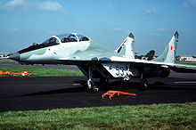 Airplane Picture - MiG-29UB at the 1988 Farnborough Airshow