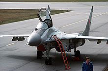 Airplane Picture - MiG-29 fighter parked on the ramp after a demonstration flight at the Abbotsford Air Show, 1989.