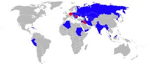 Airplane Picture - Operators of the MiG-29 in blue (former operators in red)
