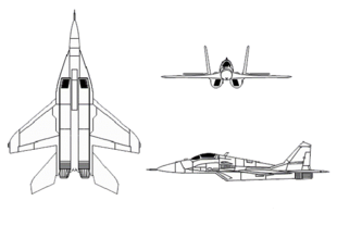 Airplane Picture - 3-view drawing of MiG-29
