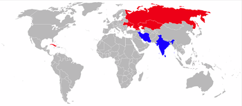 Airplane Picture - Operators of the MiG-27 in blue (former operators in red). NB. Iran is mistakenly shown as blue when it should be red.