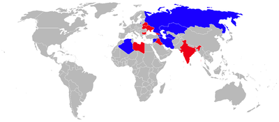 Airplane Picture - MiG-25 Operators 2010 (former operators in red)