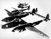 Airplane Pictures - Four P-38s flying in formation