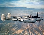 Airplane Pictures - P-38J-10-LO, 42-68008, flying over Southern California