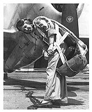 Airplane Pictures - WASP pilot Deanie Parish on the flightline at Tyndall Air Force Base, Florida, in the early 1940s in front of an early P-47