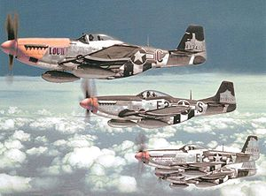 Airplane Pictures - North American P-51 Mustangs of the 375th Fighter Squadron, 361st Fighter Group, summer 1944