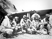 Airplane Pictures - Pilots of the elite, all-African American 332nd Fighter Group (the Tuskegee Airmen) at Ramitelli, Italy. From left, Lt. Dempsey W. Morgran, Lt. Carroll S. Woods, Lt. Robert H. Nelron, Jr., Capt. Andrew D. Turner and Lt. Clarence P. Lester