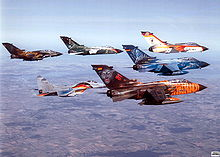 Airplane Picture - Formation of five German Tornado IDS with one MiG 29