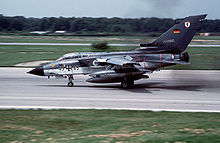 Airplane Picture - A German Navy Tornado IDS landing at RAF Mildenhall in 1984 with the Thrust Reverse deployed