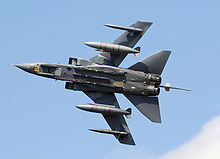 Airplane Picture - RAF Tornado GR4 (ZA597) at an English air display, with wings partially swept
