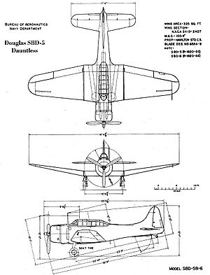 Airplane Pictures - SBD-5 drawing