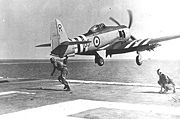Airplane Pictures - A Sea Fury FB-11 launches from HMS Glory in 1951