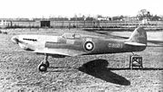 Airplane Pictures - The unpainted Spitfire prototype K5054 at Eastleigh airfield, just before the first flight. The angled rudder mass balance, fixed, unfaired main undercarriage and tailskid can be seen