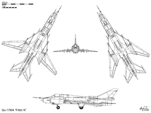 "Airplane picture - Orthographic projection of the Su-17M4 ""Fitter K"", with plan view of wings swept and spread"